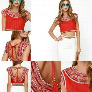 Billabong Chica Amiga Red Embroidered Crop Top NWT